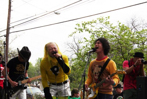 Peelander Z performs with Electric Eel Shock at Springdale Farm during SXSW 2012.