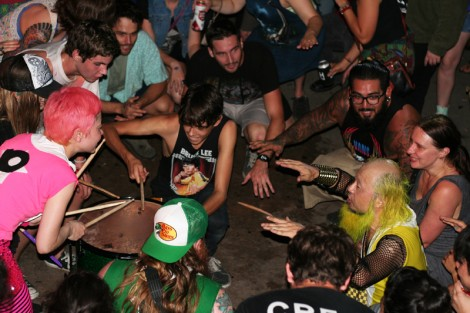 Peelander-Z forms a drum circle at Austin's Mohawk.