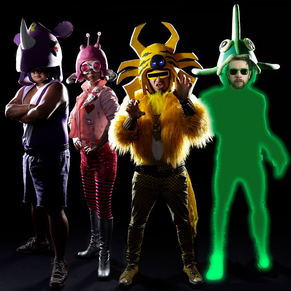 The color-coded members of Peelander-Z with newcomer Chris Heaton as the new Peelander Green.