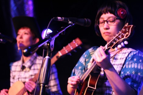 Pirates Canoe's Reika Hunt (left) and Sara Kohno perform at Japan Night 2013 during SXSW.